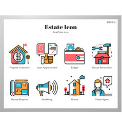 estate icons linecolor pack vector image
