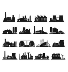 Factory building set city industry and business vector