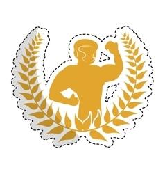 Fitman flexing emblem icon image vector