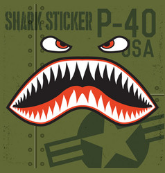 Flying tigers warhawk usa shark mouth red sticker vector