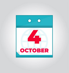 fourth 4 october flat daily calendar icon vector image