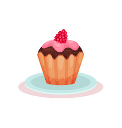 Freshly-baked cupcake with pink glaze and ripe vector