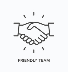 Friendly team flat line icon outline vector