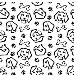 funny dog seamless pattern in brush outline style vector image