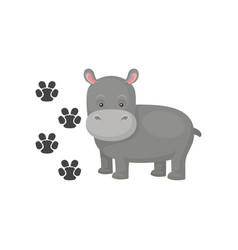 Funny gray hippopotamus and his footprints vector