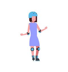 girl helmet roller skating over white background vector image