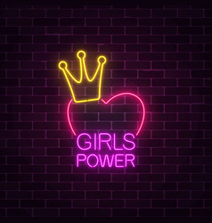 girls power sign in neon style on dark brick wall vector image