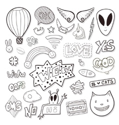 Girly elements with alien speech bubbles vector image