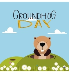 Groudhog day background vector