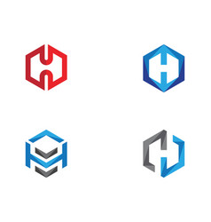 h logo hexagon icon vector image