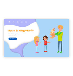 happy family with dog website with links vector image
