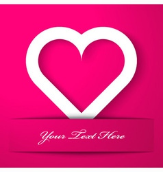 Heart applique on pink background vector image