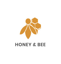 Honey and bee logo template vector