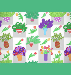 Horizontal card with cute cartoon colored plants vector