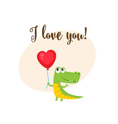 i love you card with crocodile holding heart vector image