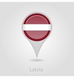 Latvian flag pin map icon vector