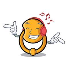 Listening music elegant fashion door knocker vector