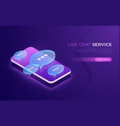 live chat service social media communication vector image