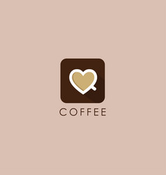 love coffee cup logo icon with flat design style vector image