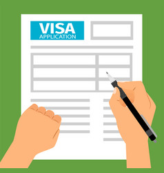 man hands filling out visa application vector image