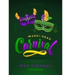 Mardi Gras Carnival Calligraphy Invitation Poster vector