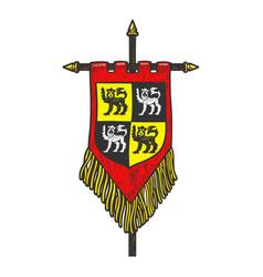 medieval flag banner sketch vector image