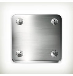 Metal plate with screws vector