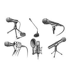 Microphones for audio podcast broadcast vector