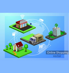 Mobile shopping e-commerce vector