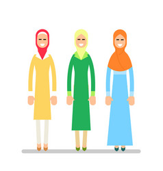 muslim woman or arab woman girl stand in the vector image