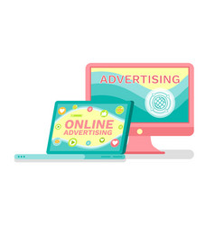 online advertising services laptop and computer vector image