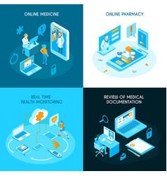 online medicine isometric concept vector image