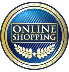 Online shopping label vector