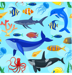 pattern with ocean animals vector image