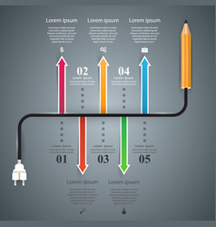 pencil bulb - business education infographic vector image