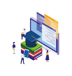 Pile text books with desktop and minipeople vector