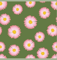 pink aster daisy seamless on green background vector image