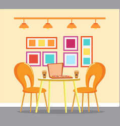 Pizza house restaurant table with box and coffee vector