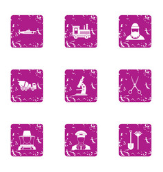 Private affair icons set grunge style vector
