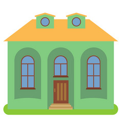 Private house with a yellow roof and green walls vector