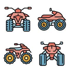 Quad bike icons set flat vector