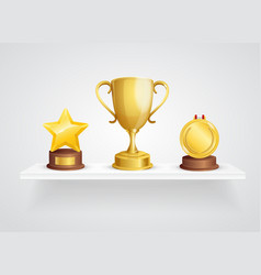 realistic detailed 3d different awards on shelf vector image