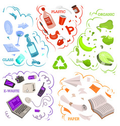 Recycling garbage elements sorting and utilize vector