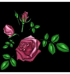 Roses embroidery vector