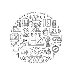 Round design element with camping and hiking icons vector