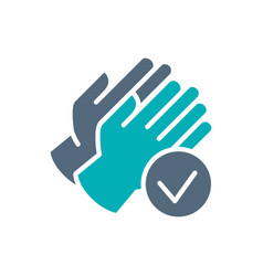 rubber gloves with tick checkmark colored icon vector image