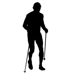 runner with trekking poles running vector image