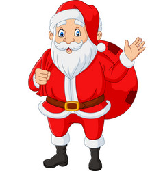 santa claus carrying a bag presents waving vector image