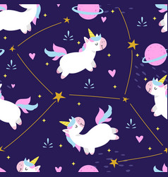 seamless pattern cute unicorn vector image