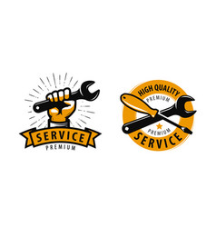 Service work repair label or logo tools concept vector